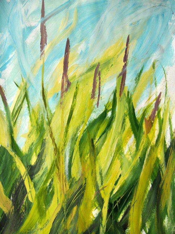 Carmen Gordon Amonngst the meadow Foxtail Acrylic on paper Framed 64x89cm 100