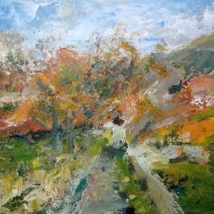 Judi Rutherford Autumn valley Acrylic on canvas 68x59cm framed 350