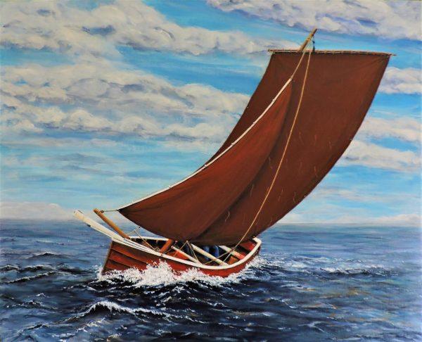 Tony Simpson full sail acrylic on canvas 56x45cm 185